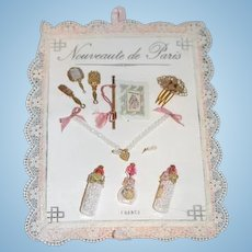 Artist Doll French Trousseau on a Card Hair Comb Bottles and Necklace Earrings Brush set