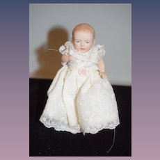 Wonderful Miniature Doll Artist Doll Baby in Christening Gown