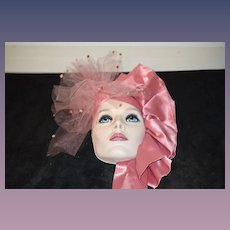 Wonderful Doll Lady Mask Face Porcelain Signed Enamel Eyes