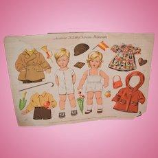 Vintage Large Doll Kathe Kruse Paper Dolls Uncut W/ Clothes