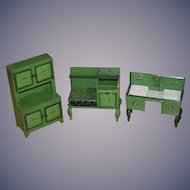 Antique Doll Tin Metal Dollhouse Furniture Kitchen Unusual LARGE Set Miniature Tole Painted