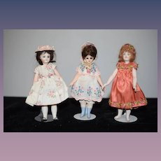 Sweet Miniature Artist Doll Set WE THREE Nicely Dressed Signed Dollhouse
