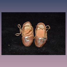 Antique Doll Oil Cloth Shoes W/ Buckles Sweet
