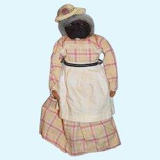 Old Apple Head Doll Or Nut Doll Black Cloth Dressed Sweet Folk Art