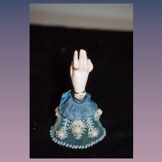 Wonderful Miniature Porcelain Hand W/ Antique Beaded Cuff Gorgeous