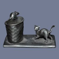 Old Miniature Pewter Cat Chasing Mouse on Woven Basket Dollhouse