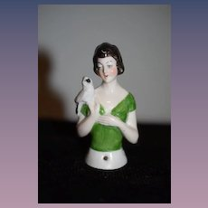 Old Half Doll Lady with Bird on Shoulder China Head