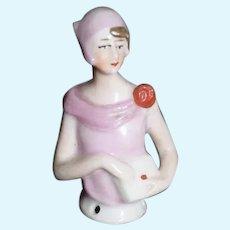 Old Art Deco Doll Half Doll China Head Miniature
