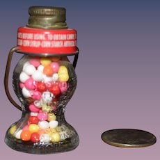 Old JC Crosetti Candy Container Miniature Glass Filled Lantern Style