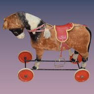 Old Doll Ride on Pull Toy Mohair Horse Steiff W/ Button