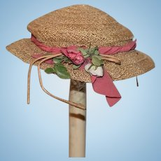 Old Doll Straw Hat Bonnet Fancy Flowers
