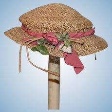 Old Doll Straw Hat Bonnet Fancy Flowers