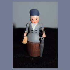 German Wood Miniature Lady Carved W/ Parasol and Purse
