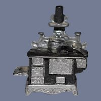 Artist Doll Miniature Dollhouse Tiny Scale Lew Kummerow Pewter Signed Stove IGMA