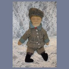 Antique Cloth Doll Sewn Features Sweet Old Clothes