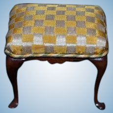 Vintage Miniature Doll Upholstered Foot Stool Dollhouse