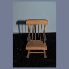Old Doll Wood Rocking Chair Miniature Weaver Dollhouse