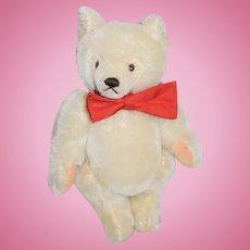 Vintage Steiff Teddy Bear Jointed Mohair Button Tag ADORABLE White Bear