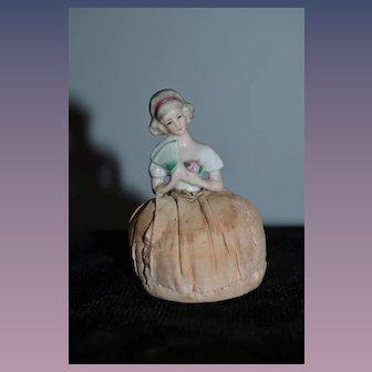 Old Miniature Half Doll China Head Holding Fan Pincushion Pin Cushion