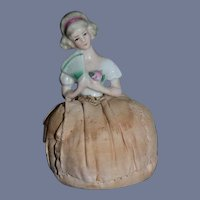 Old Miniature Half Doll China Head Holding Fan Pincushion Pin Cushion