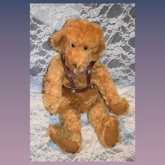 "Wonderful Artist Teddy Bear Barbara McConnell McB Bears Original W/ Leather Straps and Bells Big 22"" Tall"