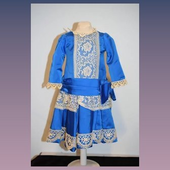 Wonderful Doll Dress Drop Waist Lace Gorgeous Perfect for French Doll