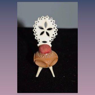 Antique Doll Miniature Fancy Chair Pincushion Pin Cushion