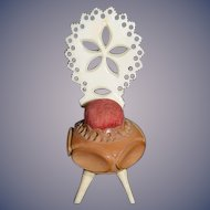 Antique Doll Miniature Fancy Chair Pincushion Pin Cushion