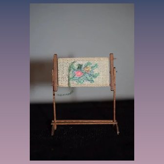 Artist Doll Miniature Dollhouse Needlepoint W/ Wood Stand