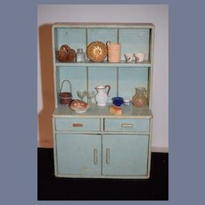 Old Doll Wood Doll Cupboard W/ Accessories Pottery Basket Glassware Miniature Larger Scale Dollhouse