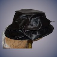 Old Doll Satin Black Hat W/ Bow and Netting