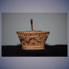 Old Doll Miniature Basket Lidded Beautiful Design Perfect for Fashion Doll