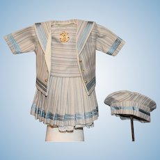 Sweet Doll Dress and Hat Bonnet for French Doll Drop Waist Sailor Dress Fancy Petite Doll