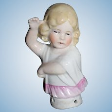 Antique Doll Miniature Half Doll German Sweet Little Girl China Head