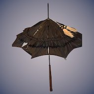 Wonderful Doll Antique Parasol Silk W/ Sashes And Wood Carved Handle