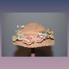 Sweet Old Doll Straw Hat Bonnet W/ Flowers and Ribbon