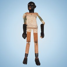 Wonderful Old Wood Doll Black Man Jointed W/ Working Mouth