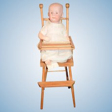 Antique Bisque Character Doll W/ Old Wood High Chair 7602 Intaglio Eyes