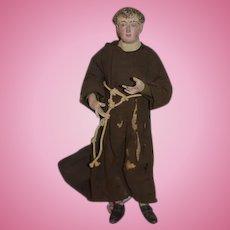 Wonderful Doll Old Creche Wood Neopolitan Saint Frances Religious Icon