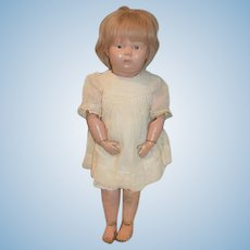 Antique Doll Wood Carved Schoenhut Pouty Incised Mark On Neck And Back Sweet Face