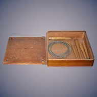 Old Wood Toy Pegged Wood Ring Toss W/ Metal Rings in Original Box