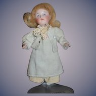 Antique Doll Miniature All Bisque Jointed Dollhouse Doll Pink Textured Socks