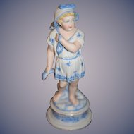 Antique Doll Bisque Figurine Girl Gone Fishing Sweet Statue
