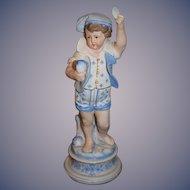 Antique Doll Bisque Figurine Statue of Boy Holding Seashells