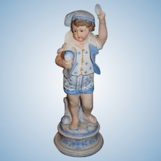 Antique Doll Bisque Figurine Statue of Boy Holding Seashells