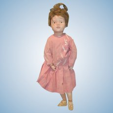 """Antique Doll Schoenhut Wood Carved Tall Character Doll Original Wig Sweet Jointed 21"""" Tall"""