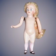 Antique Doll All Bisque Jointed Arms Dollhouse Miniature Unusual Pink Stockings French Market