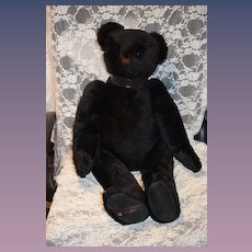 "Large Vintage Black Jointed Teddy Bear Canterbury English 32"" Tall"