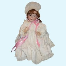 """Antique French Bisque Doll SFBJ 236 Laughing Jumeau Wonderfully Dressed 24 1/2"""" Tall"""