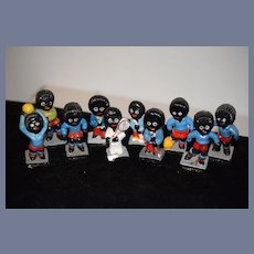 Vintage Doll Miniature Figurine Golliwog SET Robertson Sports Players